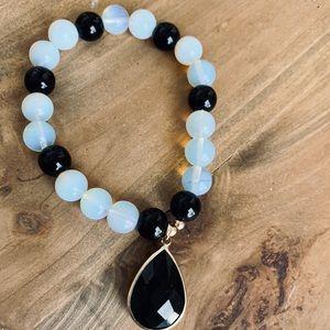 Blue Moon and Black Beaded Stretch Bracelet